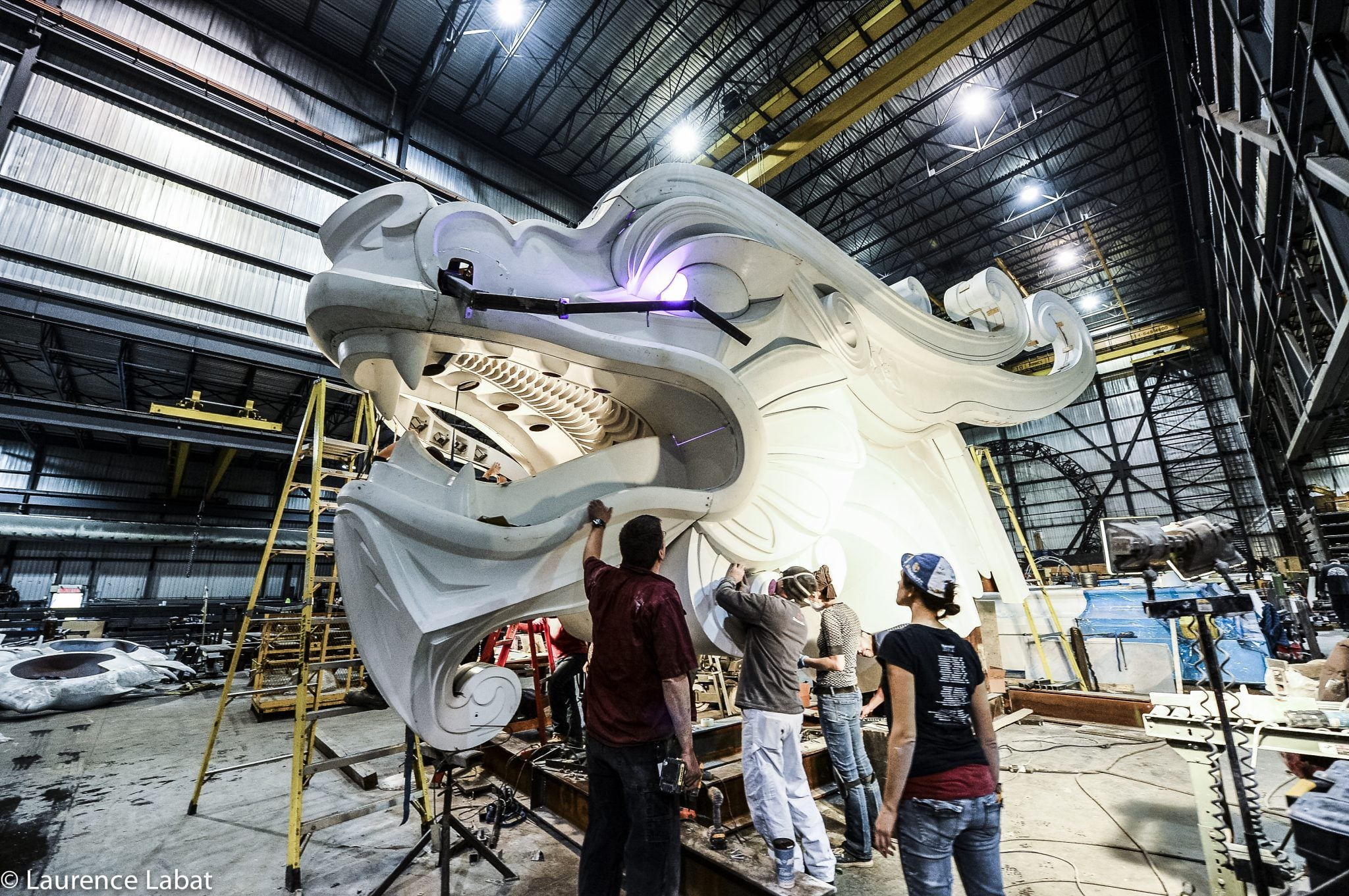 Our craftsmen working on the dragon's head