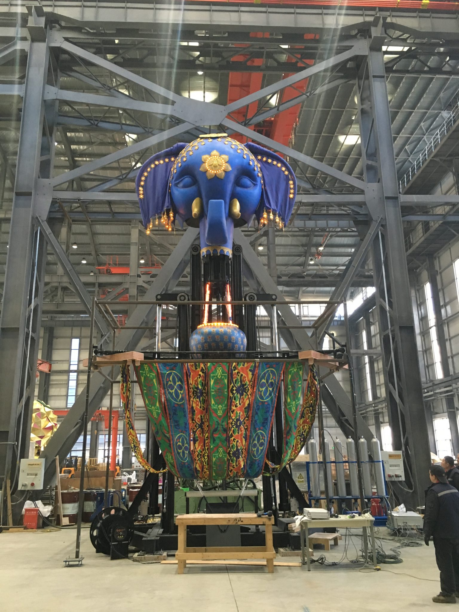 Elephant balloon lift in our workshop
