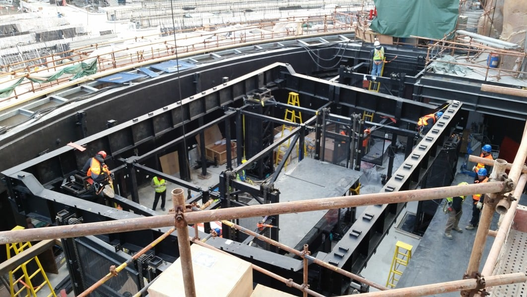 Structure for stage lift in Disney Shanghai