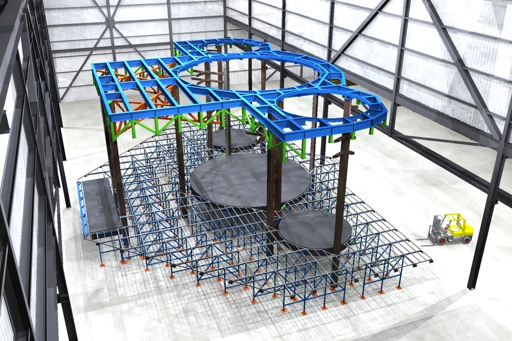 Stage lift pit rendering for our workshop